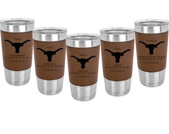 Bridal Party Tumbler 20 ounce Leatherette wrapped Stainless Steel with a Clear Lid - Engraved including Choices of Color, Design, Text