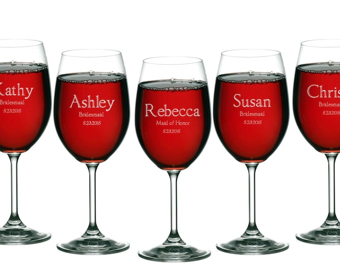 Wine Glasses Personalized Engraved 11 oz, Brides Maid Gifts, Wedding Toasting Glasses, Gift for Maid of Honor, Groomsmen, ANY QUANTITY