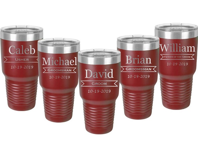Wedding Party Tumbler 30 oz in Sets of 2 to 20 Custom Engraved Double Wall Stainless Steel with a Clear Lid - Choices of Design Color & Text