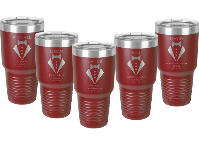 Bridal Party 30 oz Stainless Steel Tumbler with Choice of Twelve Designs & Tumbler Color - Laser Engraved and a Clear Lid - Sets of 4 to 15