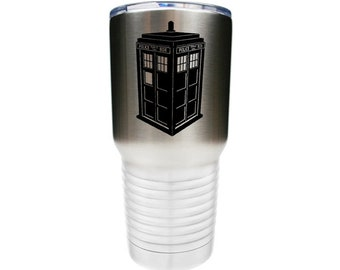 Dr. Who Inspired Tardis Police Box Stainless Steel Tumbler with Clear Lid Laser Engraved - Choices of 20 or 30 ounce, Color & Name