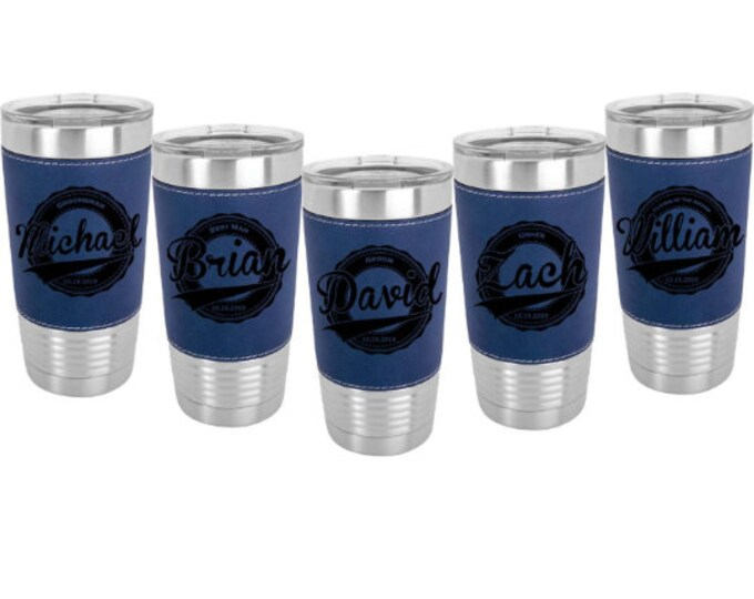 Bridal Party Leatherette wrapped Stainless Steel 20 ounce Tumbler with a Clear Lid Custom Engraved - Choice of Nine Colors and Eight Designs