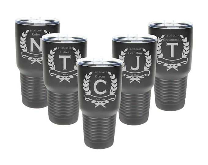 Groomsmen Gift - 30 ounce Stainless Steel - Set of 4 to 15 - Custom Engraved with a Clear Lid - Choices of Color, Name, Title, Date & Design