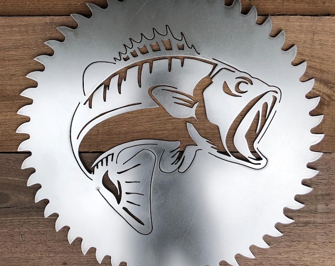 Bass Fish Saw Blade Man Cave Sign made of Steel including Choices of Twelve Powder Coated finishes