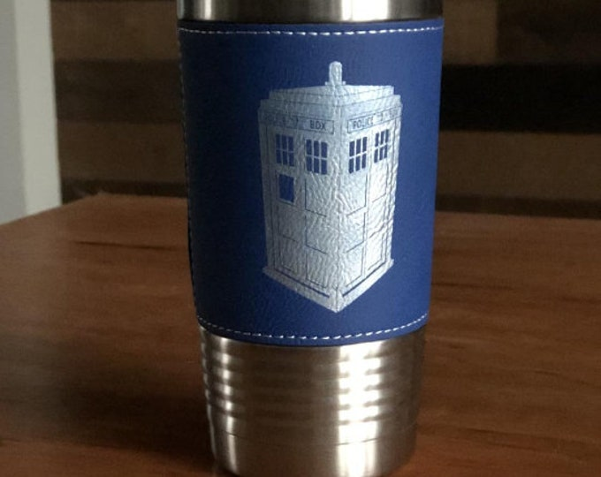 Dr. Who Inspired Tardis Police Box - Stainless Steel Tumbler w/Clear Lid - Choice of 10 - 12 - 20 - 30 ounce, Colors, Name, Date & Font