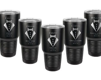 Tuxedo Design Tumbler made of Stainless Steel with a Clear Lid - Laser Engraved - Choices of 12 - 20 - 30 ounce, Color and Spill Proof Lid