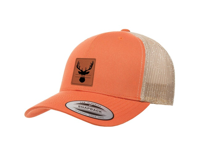 Deer Hunter Hat - Mesh Back with Laser Engraved Patch including Choices of Twenty-Five Hat Colors and Fourteen Patch Colos & Text