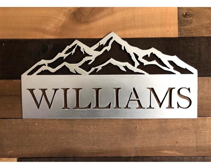 Monogram House Sign, Door Monogram, Powder Coated, Front Door Decor, Family Name, Mountains