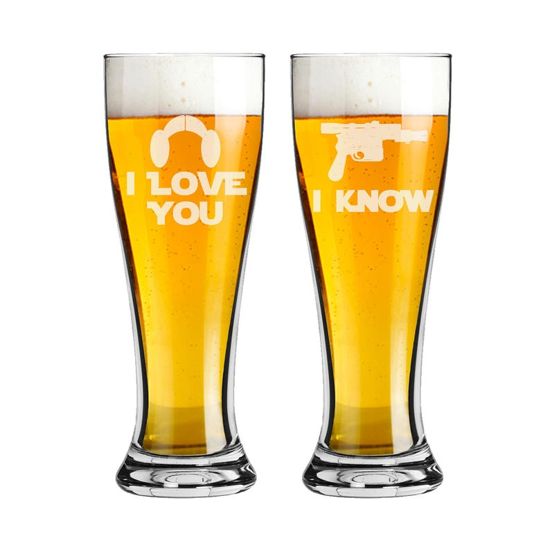 Star Wars Inspired  Pilsner Beer Glass 16 ounce  I Love You image 0