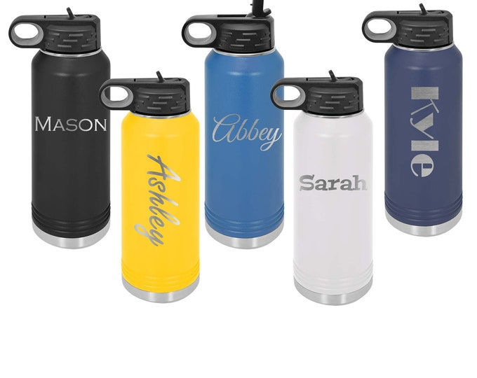 Water Bottle 32 ounce - Stainless Steel - Flip Straw Lid - Choices of Color and Text - Custom Engraved