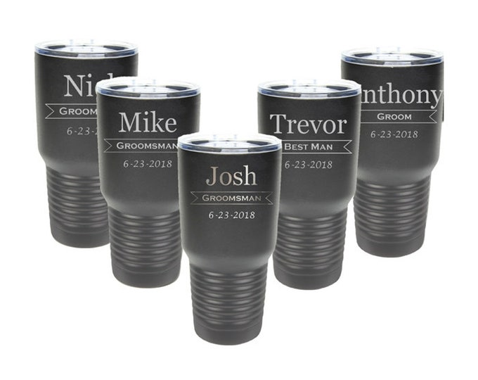 Groomsman 30 ounce Tumbler Sets of 4 to 15 Custom Laser Engraved Stainless Steel with a Clear Lid and Choices of Color, Design, Title & Date