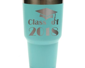 Graduation Stainless Steel 30 ounce Tumbler with a Clear Lid Custom Engraved including Choices of Color and Spill Proof Slide Lid