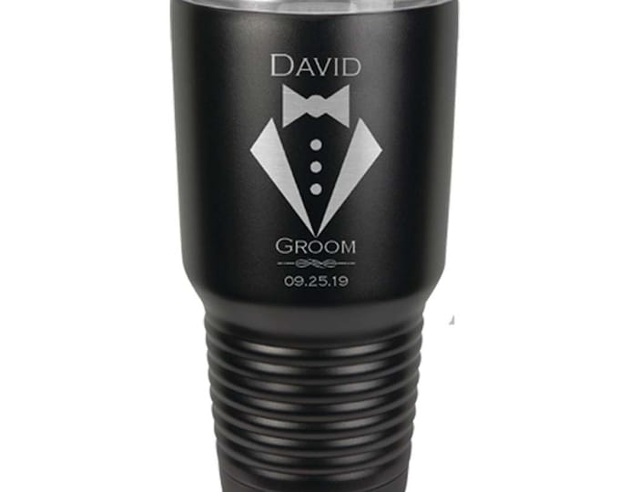 Tuxedo Design Stainless Steel 30 oz Tumbler Custom Engraved with Clear Lid including Choices of Color, Spill Proof Lid & Straw