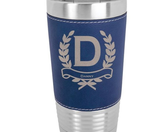 Monogrammed Name Tumbler - 20 ounce - with Clear Lid - Choices of Color, Name, Letter & Spill Proof Lid - Custom Engraved