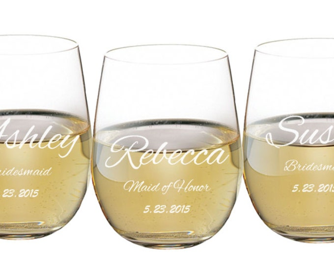 Stemless Wine Glass, 17 ounce Personalized Engraved, Toasting Glass, Wedding Favor, Bridal Party, Bridesmaid or Groomsmen, ANY QUANTITY