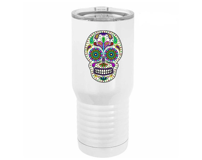 Unique Full Color Sugar Skull Design on a White 20 ounce Stainless Steel Tumbler including Choices of Design, Text & Type Lid Cover