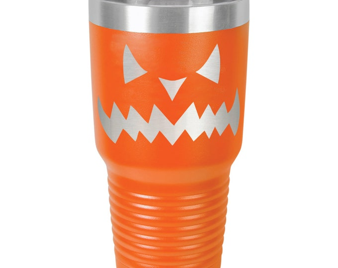 Jack-O-Lantern Tumbler made of Stainless Steel Custom Engraved with a Clear Lid - Choices of 12 - 20 - 30 ounce, Color & Your Text