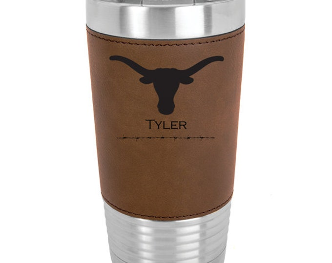 Longhorn Name Tumbler Stainless Steel with Clear Lid - Choice of 12 - 20 - 30 ounce, Colors, Names & Spill Proof Slide Lid - Engraved Gift