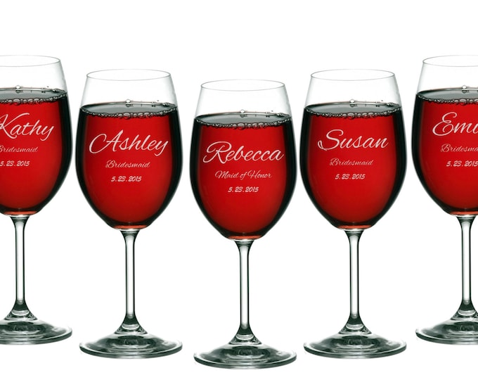 Wine Glasses Personalized Engraved 11 oz, Brides Maid Gifts, Wedding Toasting Glasses, Maid of Honor, Groomsmen - ANY QUANTITY
