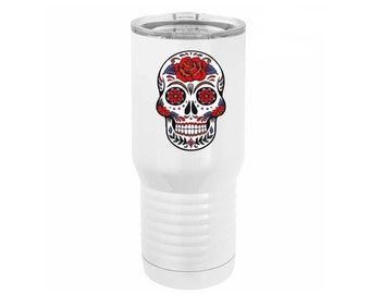Sugar Skull Full Color 20 ounce White Stainless Steel Tumbler with a Clear Lid including Choices of Design, Name and Spill Proof Slide Lid