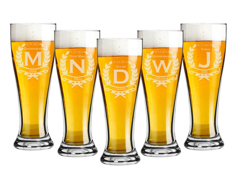 Groomsmen Gift  Pilsner 16 ounce Beer Glasses  Set of 6  image 0