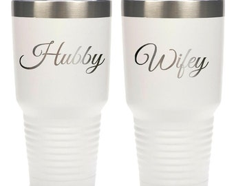 Hubby Wifey Tumblers - Set of 2 Stainless Steel with a Clear Lid - Choices of 12 - 20 - 30 oz, Color, Name & Spill Proof Lid - Engraved Gift
