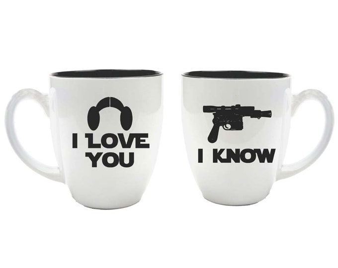 Star Wars Inspired Bride & Groom Ceramic Coffee Mugs - I Love You I Know - Set of 2 - 16 ounce - Choice of Color - Custom Engraved