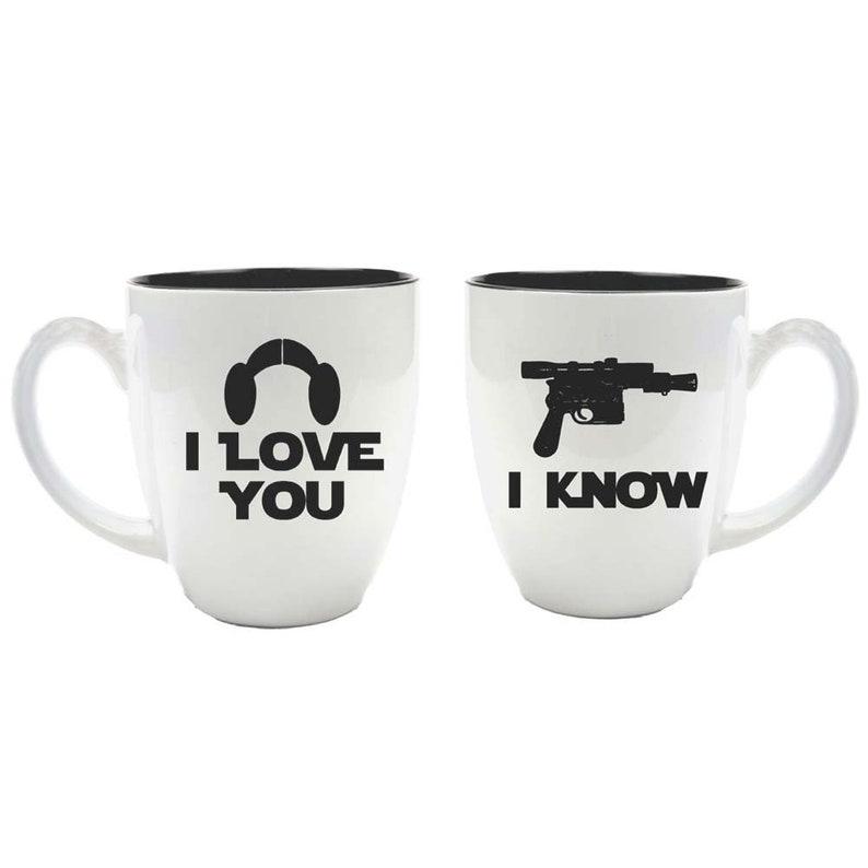 Star Wars Inspired Bride & Groom Ceramic Coffee Mugs  I Love image 0