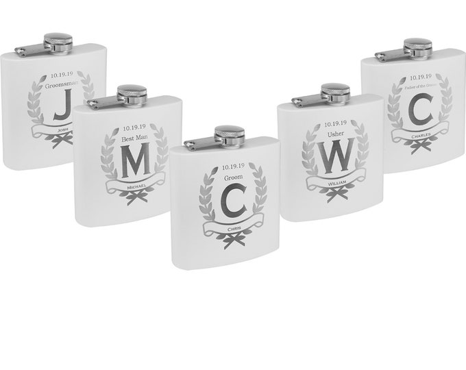 Powder Coated Stainless Steel Flask & Funnel 6 ounce Custom Engraved including Choices of Color, Design, Name, Title, Date