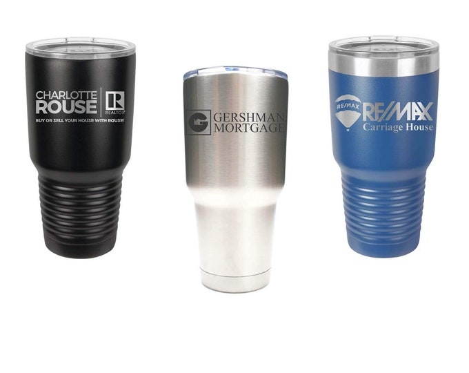 Corporate Company Tumbler made of Stainless Steel Custom Laser Engraved with a Clear Lid - Choices of 12, 20, 30 ounce and Color