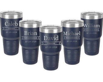 Groomsmen Tumblers - Set of 15 - Stainless Steel with a Clear Lid - 30 ounce - Custom Engraved - Choices of Color & Design