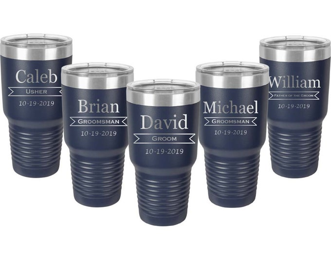 Custom Design Groomsman Tumbler - Set of 10 - Stainless Steel with a Clear Lid - 30 oz - Custom Engraved - Choices of Color & Twelve Designs