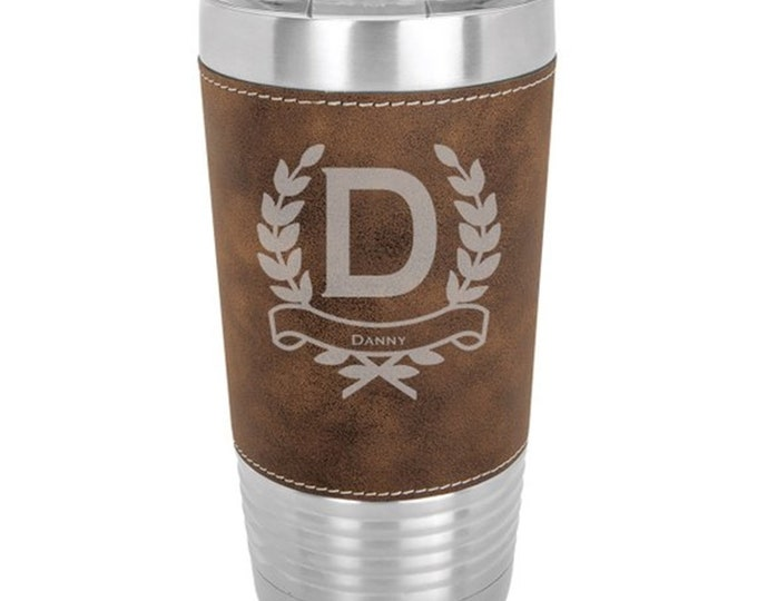 Wreath Design Name Tumbler - Sets of 4 to 15 - Stainless Steel 20 oz with Clear Lid - Custom Engraved - Choice of Colors, Name & Letter