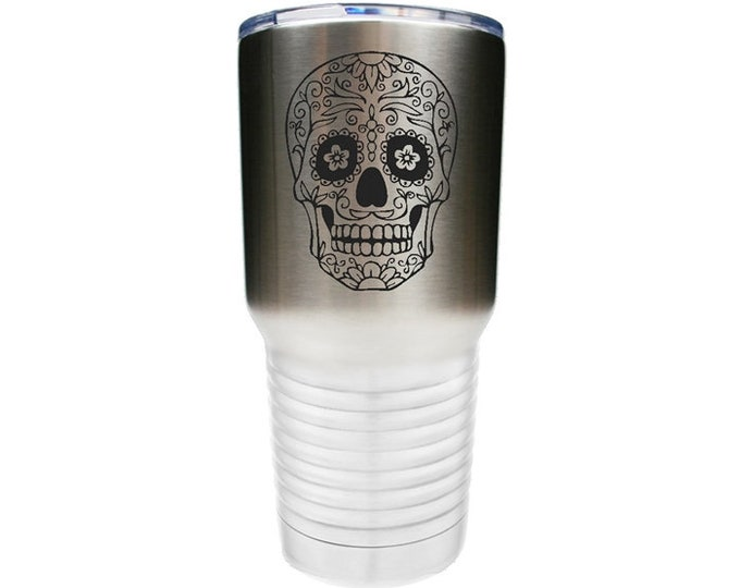 Sugar Skull Tumbler made of Stainless Steel Custom Engraved with a Clear Lid - Choices of 12 - 20 - 30 oz, Color, Name & Spill Proof Lid