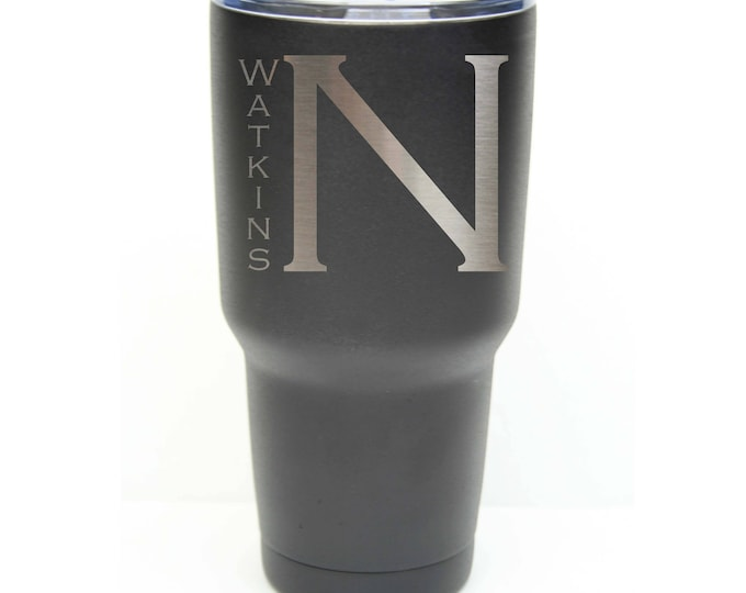 Name Tumbler - Stainless Steel with Clear Lid - Choice of 12 - 20 - 30 ounce, Colors, Name, Letter & Spill Proof Slide Lid - Engraved Gift