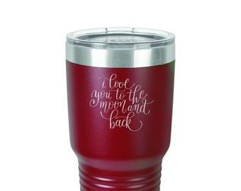 Valentine's Day Tumbler - Stainless Steel w/Clear Lid - Personalized Custom Engraved - Choice of 12 - 20 - 30 oz, Color, Font & Name - Gift