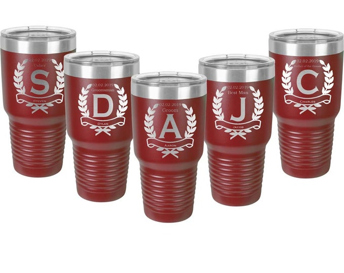 Groomsmen 30 oz Stainless Steel Tumbler - Sets of 4 to 15 - Custom Engraved with a Clear Lid - Choices of Seventeen Colors & Twelve Designs
