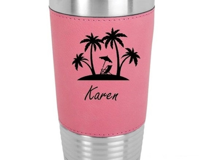 Beach Design Tumbler Stainless Steel with Clear Lid Laser Engraved - Choices of 12 - 20 - 30 oz, Text, Color, Twelve Fonts & Spill Proof Lid