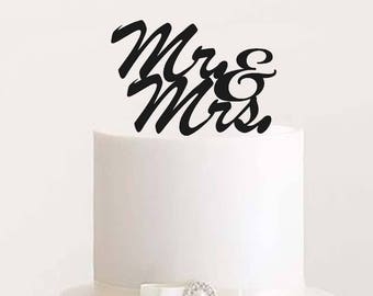 Mr. Mrs. Wedding Cake Topper - Black Acrylic Letters, Laser Cut, Bride and Groom - Center Piece