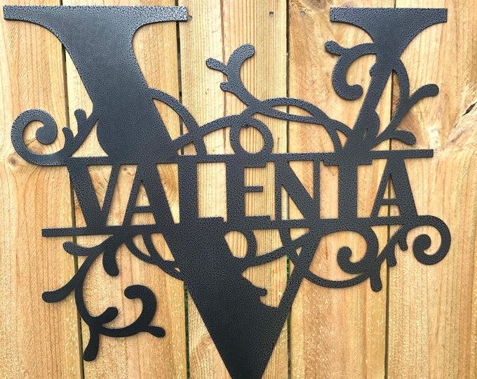 Name Sign made of 16 Gauge Steel with Choices of Color, Text and Letter