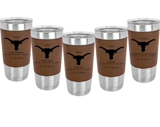 Custom Engraved Leatherette wrapped Stainless Steel 20 oz Tumbler - Sets of 4 to 15 - with Clear Lid - Choice of Nine Colors & Eight Designs