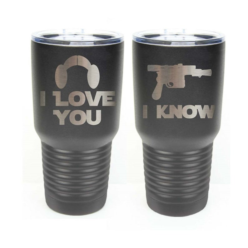 Star Wars Inspired  I Love You I Know  Set of 2  Stainless image 0