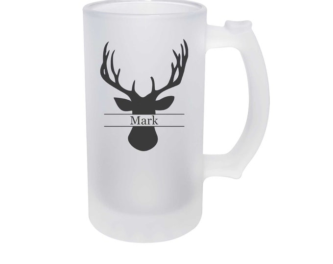 Deer Head Beer Mug 16 ounce made of Frosted Glass with Choices of Thirty-Five Design Colors and Text - Dye Process Not a Vinyl Decal