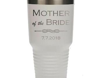 Parents' Bridal Tumbler made of Stainless Steel Custom Engraved with a Clear Lid - Choices of 12 - 20 - 30 ounce, Color, Date & Name