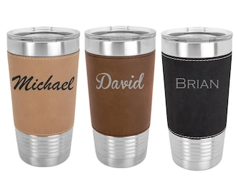 Name Tumbler Double Wall Stainless Steel with Clear Lid - Choices of 12 - 20 - 30 oz, Color, Text, Font & Spill Proof Lid - Custom Engraved