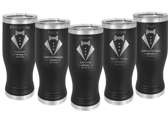 Wedding Design Pilsner Tumbler 20 oz Double Wall Stainless Steel Custom Engraved with a Clear Lid including Choices of Design, Color & Text
