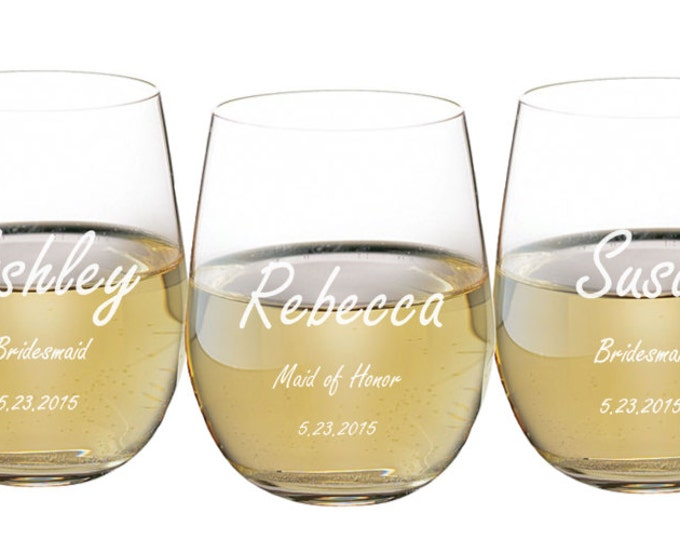 Stemless Wine Glass, 17 ounce Personalized Engraved, Toasting Glass, Wedding Favor, Bridal Party Gift, Groomsmen or Bridesmaid ANY QUANTITY