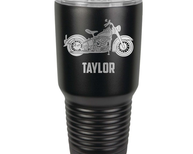 Motorcycle Design Laser Engraved on a Stainless Steel 30 ounce Tumbler - Gift For the Motorcycle Rider - Choice of Seventeen Tumbler Colors