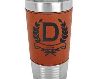 Wreath Name Tumbler - 20 oz with a Clear Lid - Choices of Color, Name, Letter & Spill Proof Lid - Custom Engraved