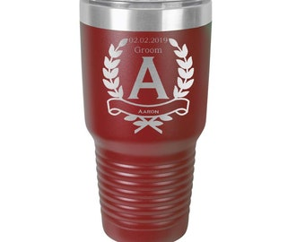 Groomsmen Tumbler 30 ounce made of Stainless Steel Personalized Custom Engraved with a Clear Lid - Choices of Color, Design, Name & Title